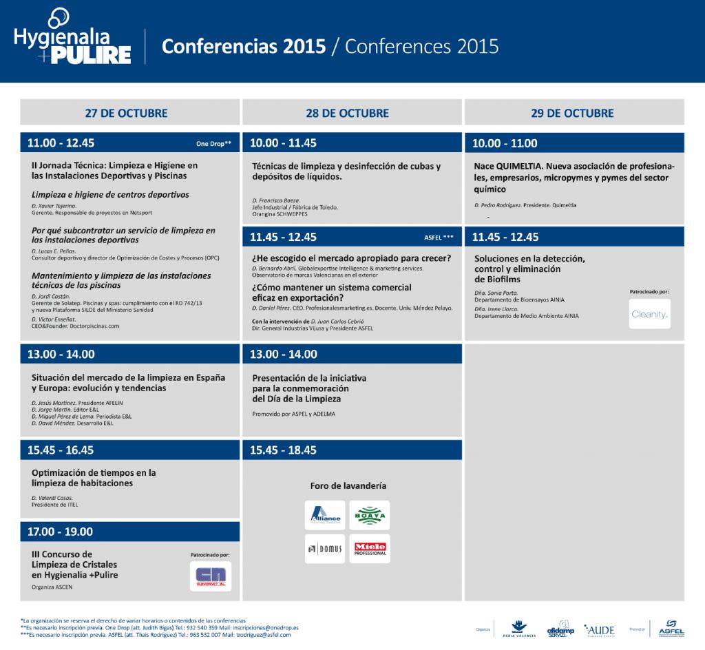 Programa conferencias Hygienalia Pulire